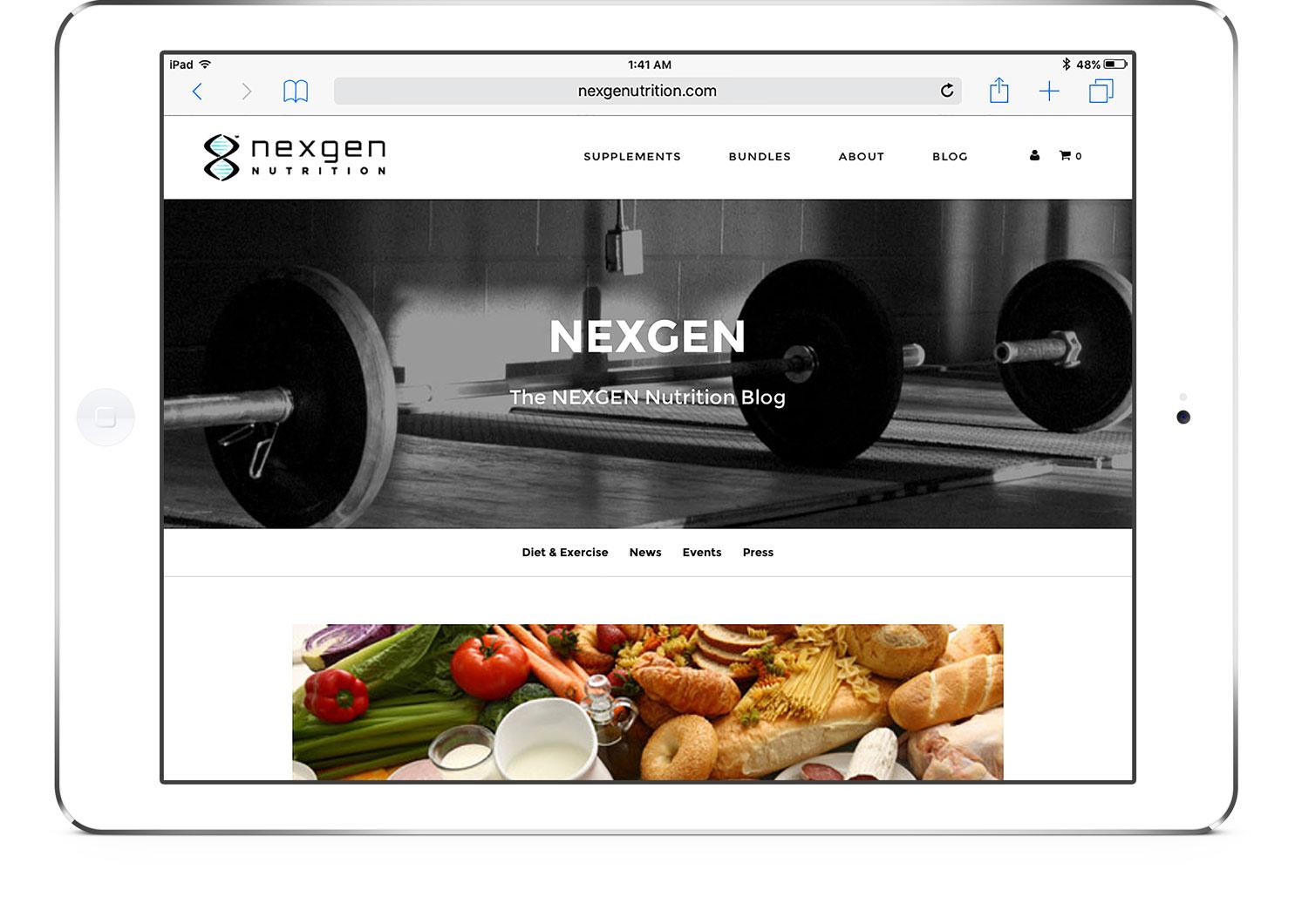 nexgen nutrition website on ipad