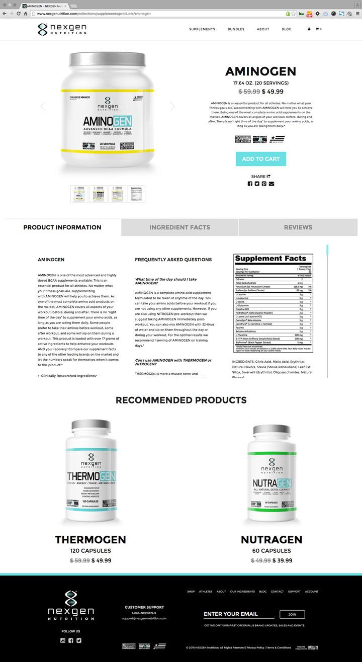 nexgen nutrition website product page