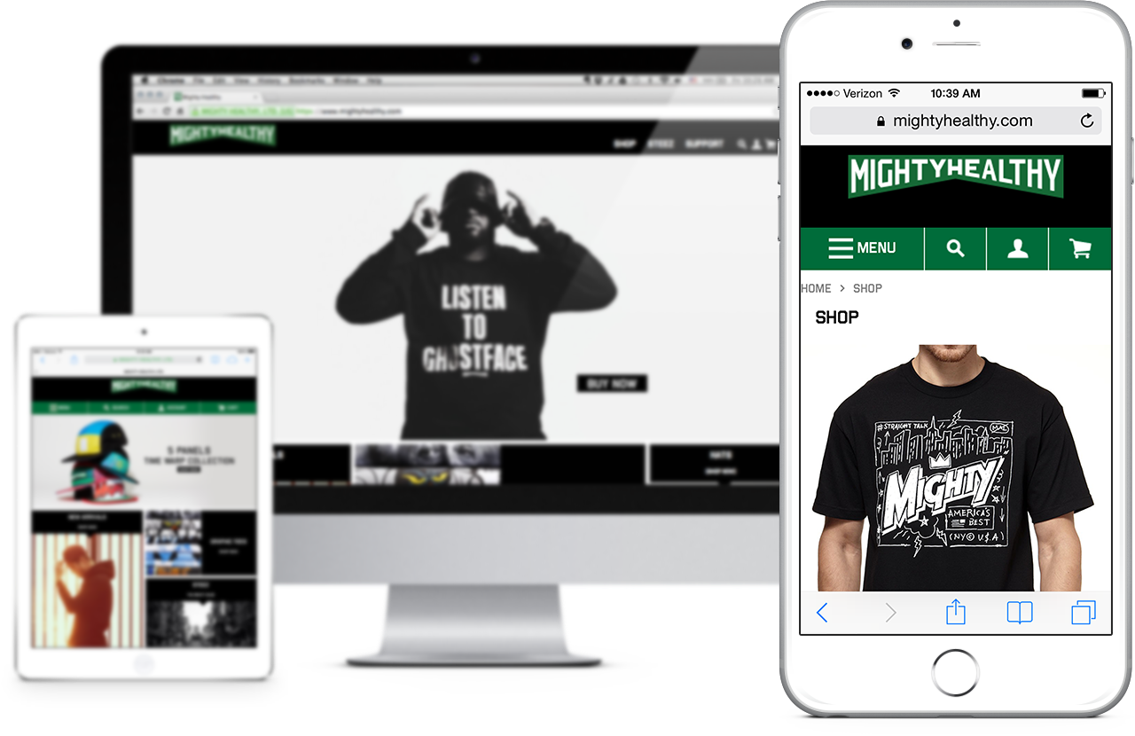 mighty healthy responsive website on apple devices